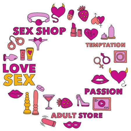 Vector set with shop icons. Erotic games background.