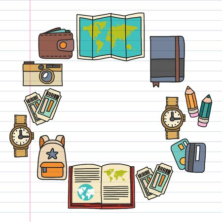 Vector pattern with travel icons. Get ready for adventures and travel. Great vacation, holidays. Hot air balloon, suitcase, airplane.