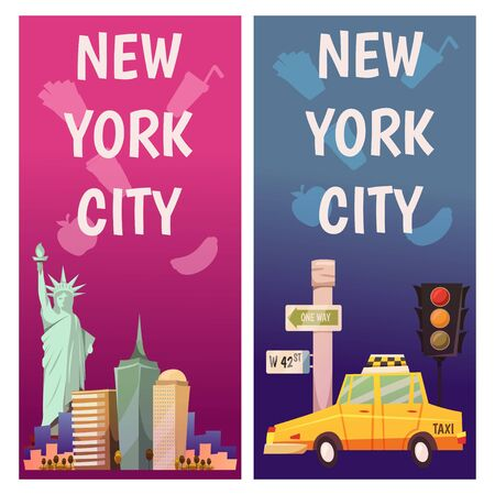 New York city Vector banners with flat icons. Yellow taxi, big apple. City line