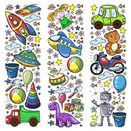 Baby toy set. Vector flat style cartoon illustration. Wooden and plastic toys, fun and activity. Kindergarten, nursery. Archivio Fotografico - 140188192
