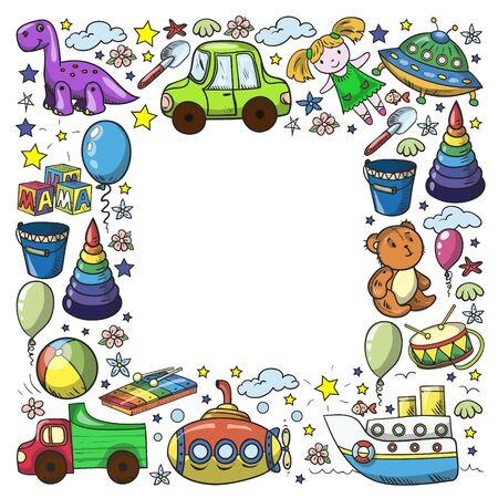 Baby toy set. Vector flat style cartoon illustration. Wooden and plastic toys, fun and activity. Kindergarten, nursery. Stock fotó - 140188195