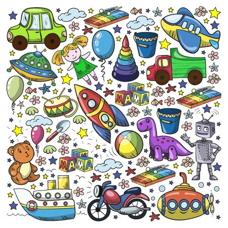 Baby toy set. Vector flat style cartoon illustration. Wooden and plastic toys, fun and activity. Kindergarten, nursery.