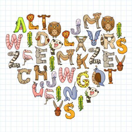 Animal alphabet. Zoo alphabet. Letters from A to Z. Cartoon cute animals. Elephant, dog, flamingo, giraffe, horse, alligator, bear, cat. Foto de archivo - 140212231