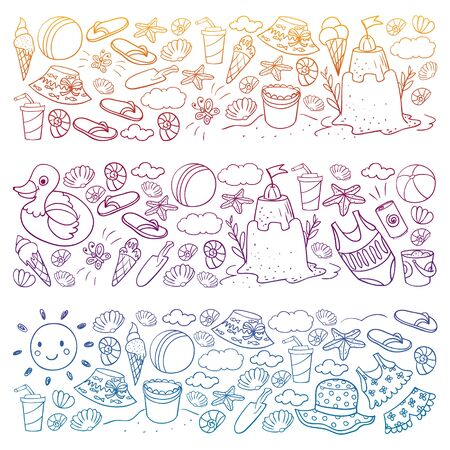 Vector set of beach icons for summer posters, banners. Sea, ocean vacations. Kids drawing style. Foto de archivo - 140212394