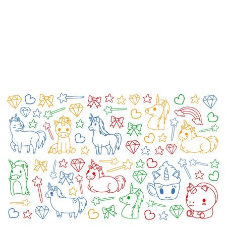 Children pattern with fairy tale unicors for kids clothes, posters, banners, shirts. Vector image with cartoon character.