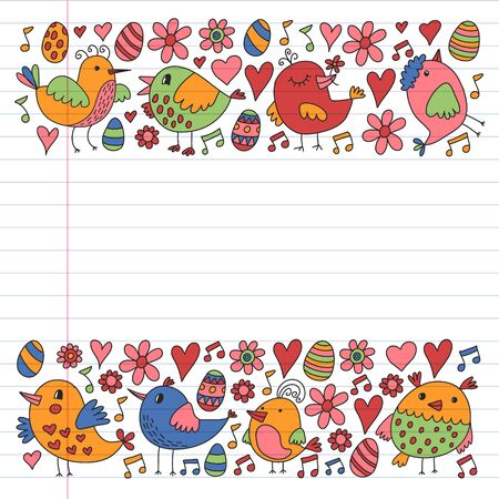 Pattern kids fabric, textile, nursery wallpaper. Vector illustration. Hand drawn singing birds and flowers for little children.