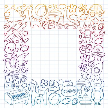 Vector pattern with children toys. Kindergarten elements in doodle style for little kids. Education, play, grow Banque d'images - 140276647