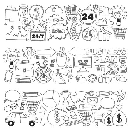 Business and management background. Pattern with finance icons. Conceptual illustration of projects organization, risk, development. Team working, budget planning.