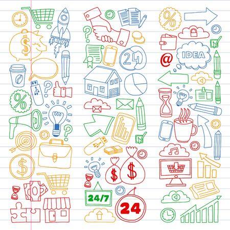 Conceptual illustration of projects organization, risk, development. Team working, budget planning Stock Illustratie