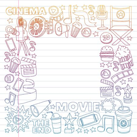 Movie, cinema set. Pattern doodle background with vector icons. Video TV.