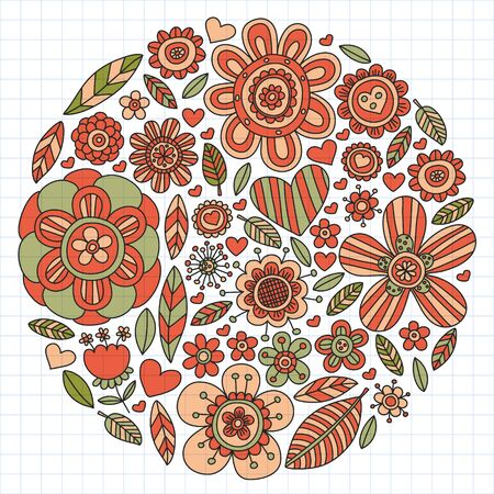 Pattern doodle background with vector icons. Video TV. Movie, cinema set. Ilustração