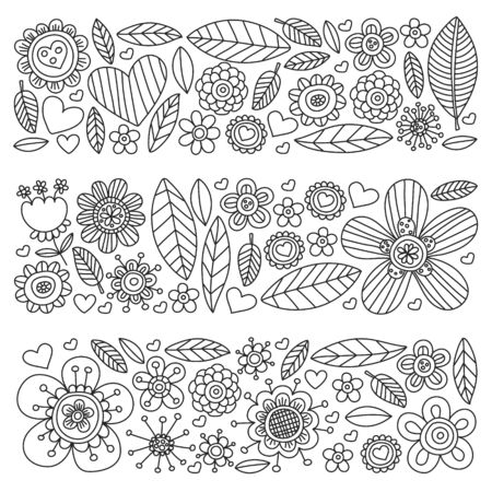 Flowers March 8. Doodle pattern. Vector icons for women. 일러스트
