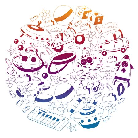 Vector set with toys icons. Kindergarten and little children.