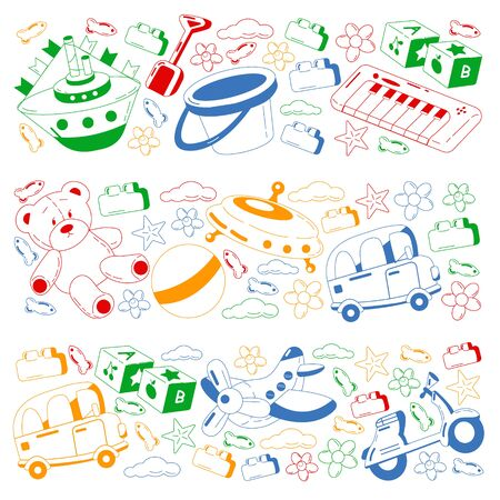 Vector set with toys icons. Kindergarten and little children. Banque d'images - 140252777