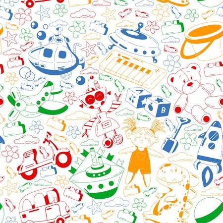 Vector set with toys icons. Pattern for kindergarten. Banque d'images - 140277538