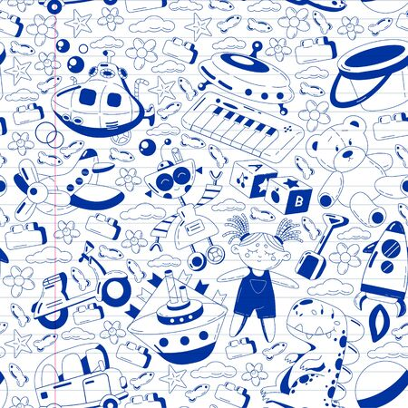 Vector set with toys icons. Pattern for kindergarten, little children. Kids playing.