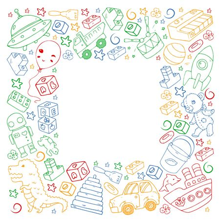 Vector pattern with toys for little children. Banque d'images - 140253766