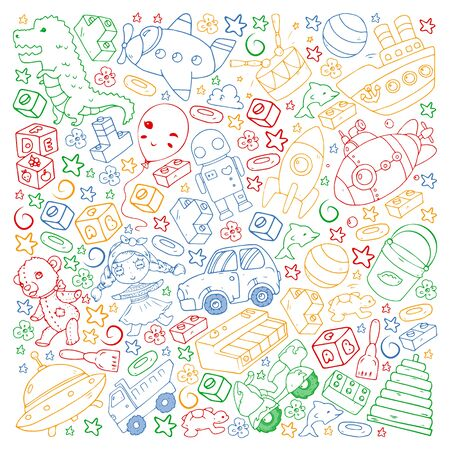 Vector pattern with toys for little children. Banque d'images - 140253750