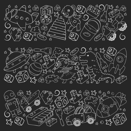 Vector pattern with toys for little children. Banque d'images - 140253802