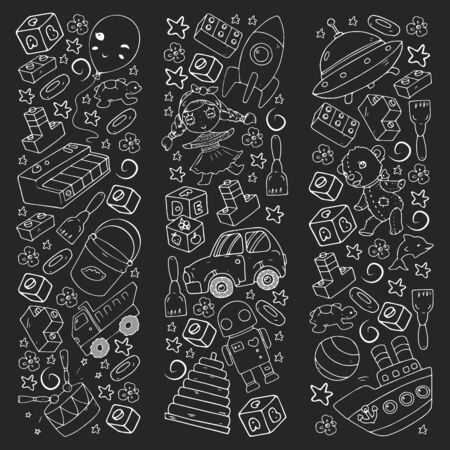 Vector pattern with toys for little children. Banque d'images - 140253825