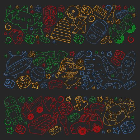 Vector pattern with toys for little children. Banque d'images - 140253804