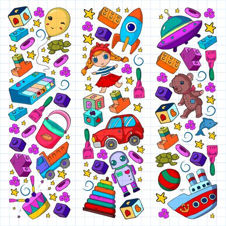 Vector pattern with toys for little children. Banque d'images - 140253807