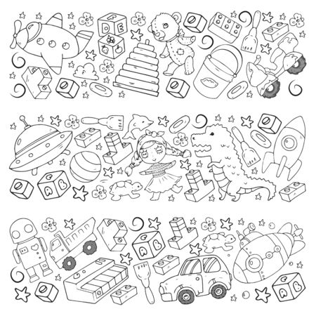 Vector pattern with toys for little children. Kindergarten kids playing with doll, dinosaur, submarine, airplane, car. Banque d'images - 140278357