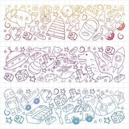 Vector pattern with toys for little children. Banque d'images - 140253850
