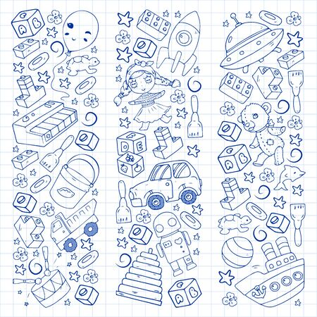 Vector pattern with toys for little children. Banque d'images - 140254456