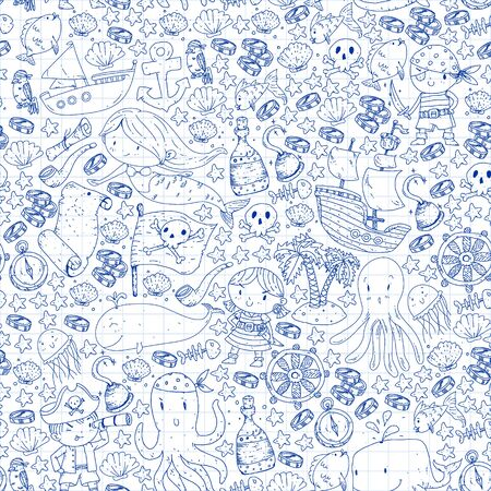 Pirates and mermaids. Vector pattern for little children. Birthday party in sea and ocean style Vektorgrafik
