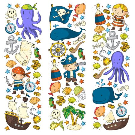 Pirates and mermaids. Vector pattern for little children. Birthday party in sea and ocean style