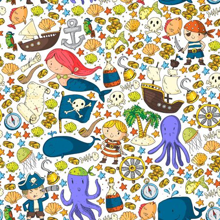 Pirates and mermaids. pattern for little children. Birthday party in sea and ocean style