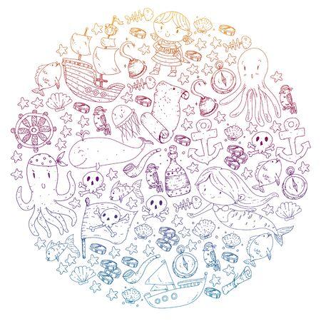 Pirates and mermaids. Vector pattern for little children. Vektorgrafik
