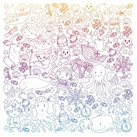 Pirates and mermaids. Vector pattern for little children.