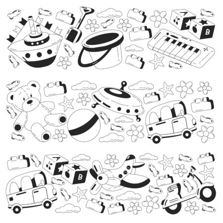 Vector set with toys icons. Kindergarten and little children. Banque d'images - 140278484