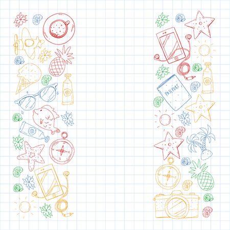 Travel vector pattern. Adventure, beach tropical design