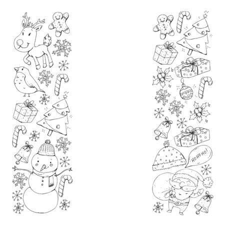 Christmas winter party. Happy new year. Bullfinch, Santa Claus, snowman, deer. Presents and candy. Stock Illustratie