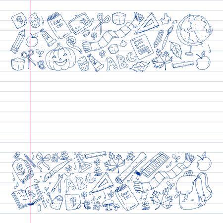 Back to school vector pattern. Education icons for children. Ilustração