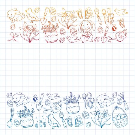 Vector pattern with easter and spring elements. Eggs in basket, bunny, flowers, birds