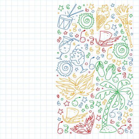 Brazilian vector pattern with palm, beach, sea carnival Ilustracja