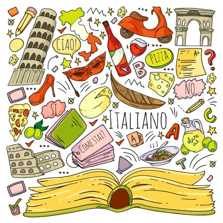 Vector pattern with icons and national symbols of Italy. Italian language learning. Ilustracja