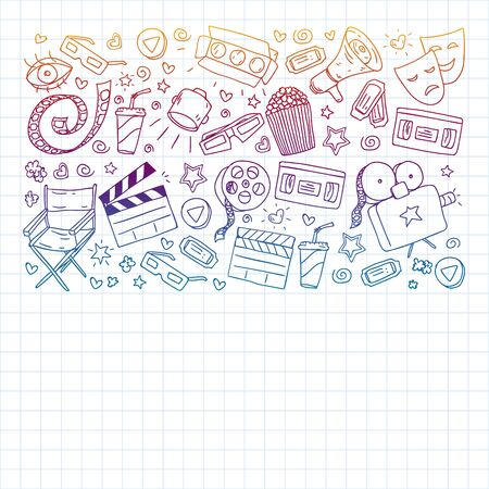 Cinema pattern with vector icons. Movie,