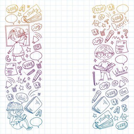 Englische Schule für Kinder. Sprache lernen. Bildung-Vektor-Illustration. Kinder zeichnen Doodle-Stil-Bild.