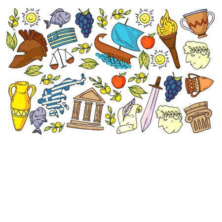 Travel to Greece elements. Greece symbols for magazines, web, tourism
