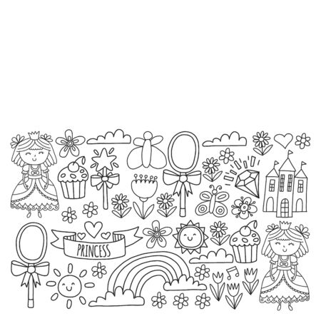 Vector pattern for little girls. Princess illustration for happy birthday party. Blackboard chalk illustration Stock Illustratie