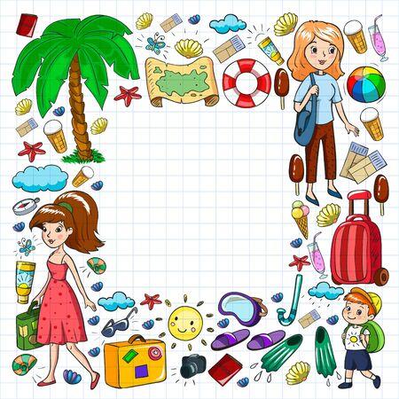 Summer vacations. Beach, ocean, island sun Vector collection of icons
