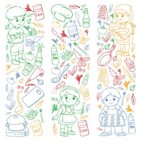 Vector pattern with cooking class for little children. Kids icons.
