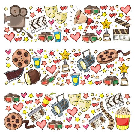 Vector pattern with cinema icons. Movie Theater, TV, popcorn, video clips musical