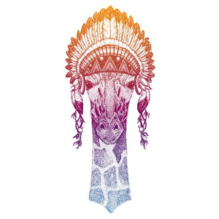 Animal. Vector portrait in traditional indian headdress with feathers. Tribal style illustration for little children clothes. Image for kids tee fashion, posters.