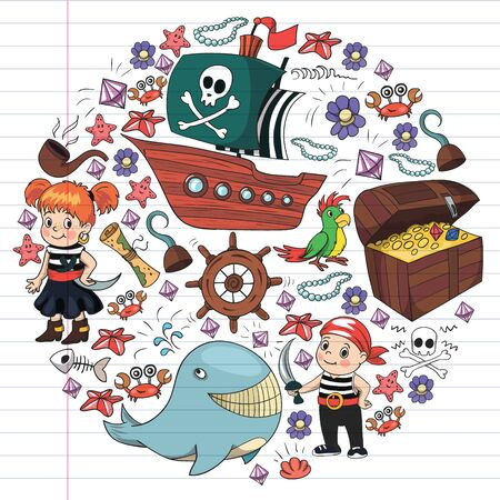 Vector set with pirate elements for birthday party for little children. Kids pattern with octopus, beach, treasure chest, ship Vektorgrafik